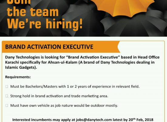 Dany requires Brand Activation Executive