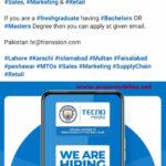 Tecno is hiring MTO Sales and Marketing