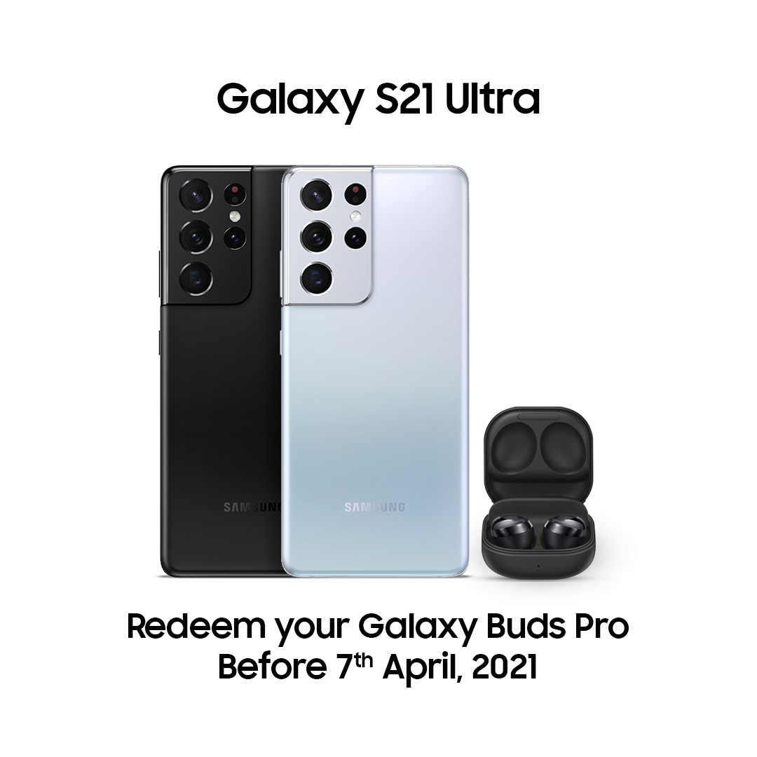 Redeem your Galaxy Buds Pro before 7th April, 2021